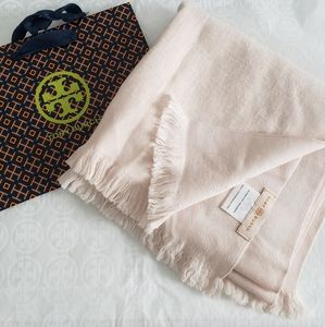 Tory Burch 100% Merino Wool Ballet Pink Logo Scarf